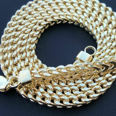 Real Men's Franco Box Hollow Chain 14K Gold Over Solid 925 Sterling Silver 4.5mm