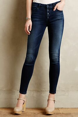 Mother 28 The Pixie Skinny Jeans Button Fly High Rise Dark Wash Stretch Denim
