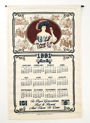 Beautiful Rare Vintage PEPSI Cola 1991 Tea Towel Kitchen Linen Calendar