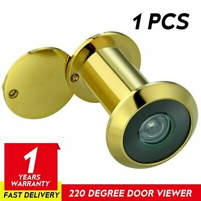 Adjustable Security Door Viewer Wide Angle 220° Brass Chrome Spy Peep Hole