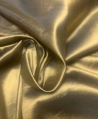 "20Mommy 100% TAFFETA SILK FABRIC By The Yard X 45"" ~ HALF PRICE   SHINY GOLDEN"