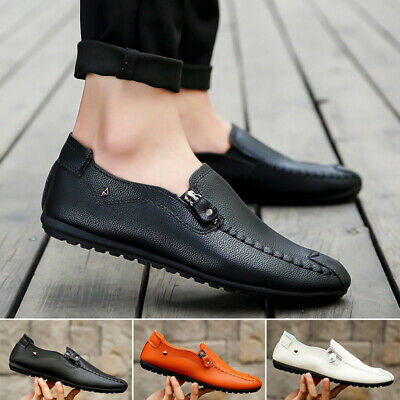 Mens Formal Round Toe Non Skid Comfy Loafers PU Leather Slip On Flat Heel Shoes