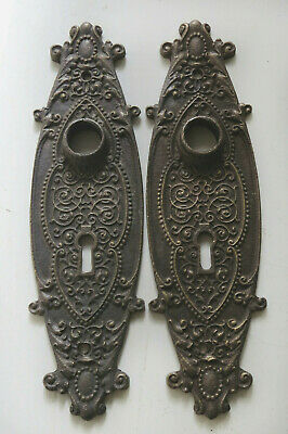 2 Ornate Antique Solid CAST BRONZE Back PLATES Door Keyholes  not brass or iron