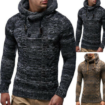 Men Winter Pullover Hooded Warm Knitted Button Jacket Jumper Long Sleeve Sweater