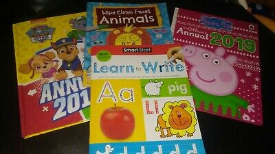4 Childs Books. 1 Learn To Write Wipe Clean. Paw Patrol & Peppa Annuals....