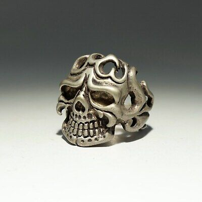 Collectable China Old Miao Silver Hand-Carved Terrible Skull Delicate Decor Ring