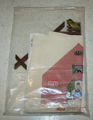 complete embroidered stamped picture with wooden house frame German Kate #11063