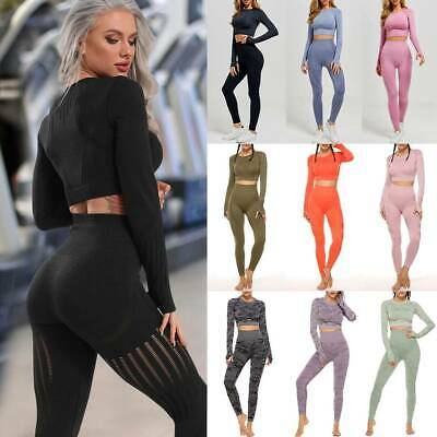 Women's Seamless Fitness Yoga Suit Leggings+Crop Top Sports Gym Set Bra Workout