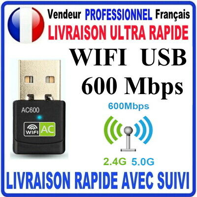 CLE USB WIFI ADAPTATEUR 600 Mbps DONGLE USB DOUBLE BANDE