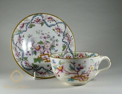 Antique Early 19Th Century Porcelain Teacup & Saucer