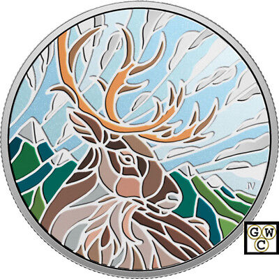 2018 'Caribou-Canadian Mosaics' Color Proof $20 Fine Silver 1oz. Coin(18549)(NT)