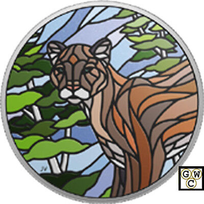 2018 'Cougar -Canadian Mosaics' Colorized Prf $20 Silver  1oz.  Fine Coin(18582)