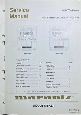 Original Marantz MX540 HiFi Stereo CD Changer System Service Manual 74 01B 02B
