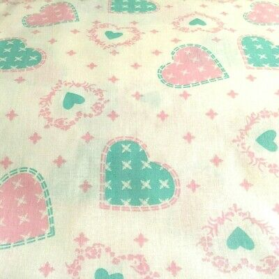 Cotton Fabric 140cm by Metre Hearts Pink Turquoise Patchwork Sewing Craft