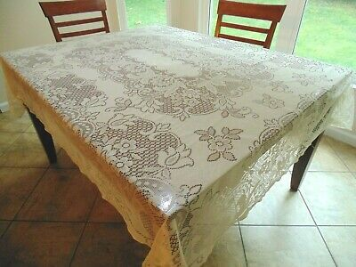"""lovely cream easy care flowered lace tablecloth, 60"""" by 80"""""""