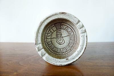 Vintage Mid Century Modern Lapid Israel Ashtray Catch All Dish Sgraffito oatmeal