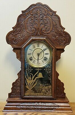 Antique Art Nouveau Gingerbread Clock Sessions USA Kitchen Mantle Shelf Oak