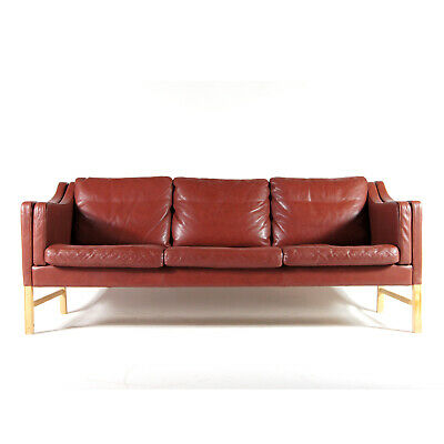 Retro Vintage Danish Skippers Mobler Leather 3 Seat Seater Sofa Oak 50s 60s 70s