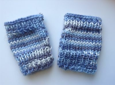Baby mittens Fingerless Blue Boy/ Girl mitts acrylic Handknit New