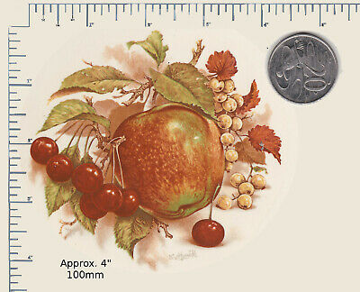 """1 x Ceramic decal. Decoupage Fruit. Apples Berries Small plate Approx. 4"""" PD77a"""