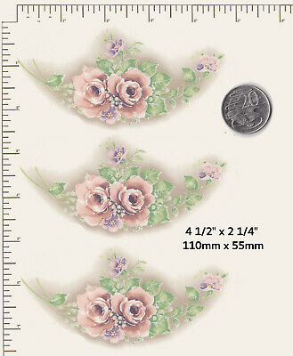 """3 x Waterslide ceramic decals Decoupage Pink floral plate edge approx 4 1/2""""  P6"""