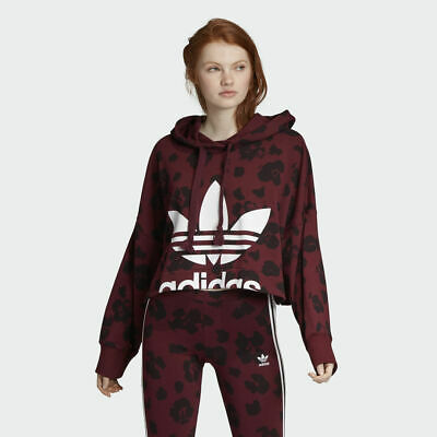 Adidas Originals Women's Allover Print Cropped Hoodie / EC1901 / Maroon Leopard