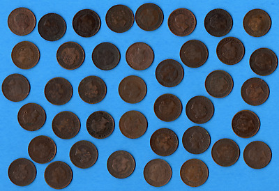 Lot of 40 Canada 1859-1901 Queen Victoria Large One Cent Coins - A Nice Mix!