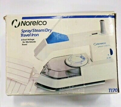 Norelco Travel Iron Steam Dry Spray Folding Handle Dual Voltage Model T170