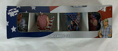 """Larry The """"Git-R-Done"""" Cable Guy 4 Pack of Shot Glasses Set (America Themed)"""