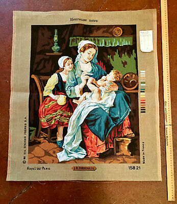 "Royal Paris~Torriglia ""Heureuse Mere"" Needlepoint Canvas~Cotton~#15821~France"