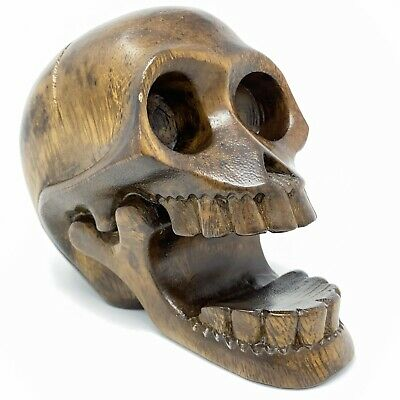 "Hand Carved Wooden Skull Sculpture Carving Solid Wood 7""x5""x3"""