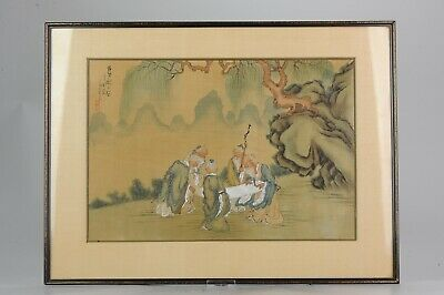 Very fine late 19th early 20th Chinese painting Ladies and Calligraphy C...