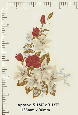 """1 Waterslide glass decal Red roses / Gold Floral arrangement 5 1/4"""" x 3 1/2"""" R87"""
