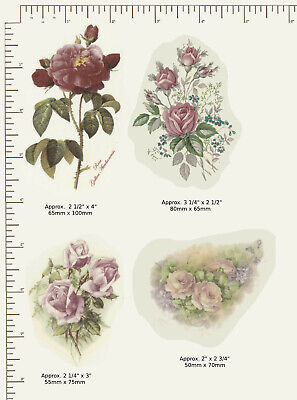4 x Ceramic decals Decoupage Mixed Roses Pink / Burgundy Flowers Floral  G01