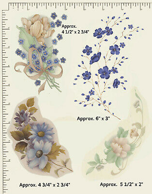 4 x Ceramic decals Decoupage Flowers Peach and Blue Floral Various sizes T10