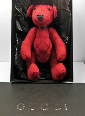 Vintage Gucci Red Monogram Teddy Bear with Box and Controlle Card