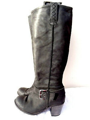 NEXT Black Genuine Leather Nubuck Matt wide fit slouch Long Buckle boot 6.5 40
