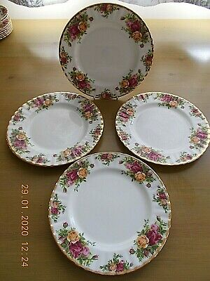 "ROYAL ALBERT OLD COUNTRY ROSES SALAD PLATES 8"" Dia. 1ST QUALITY . 4 AVAILABLE"