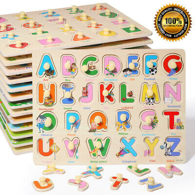 New Wooden Animal Letter Puzzle Jigsaw Early Learning Baby Kids Educational Toys