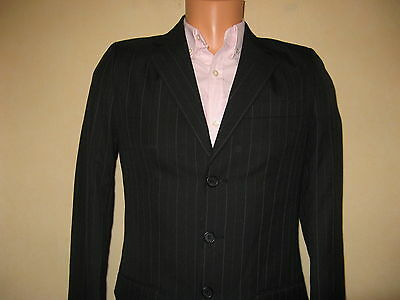 Worn Once Boys Single Breasted Black Pinstripe Fashion Suit With Shirt Age 13-14