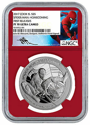 2017 Marvel Spider-Man Homecoming 1 oz Silver NGC PF70 UC FR Mercanti SKU48301