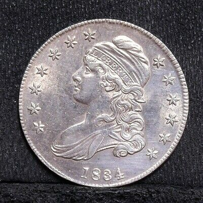 1834 Bust Half Dollar - Small Date, Small Letters - Ch AU Details (#28309)