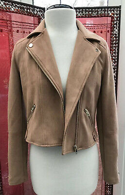 River Island Girls Faux Suede Nubuck Aviator Jacket 11-12 Years Beige Camel Vgc