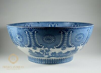 Large Antique Early 19Th Century Pearlware Blue & White Transfer Fruit Bowl