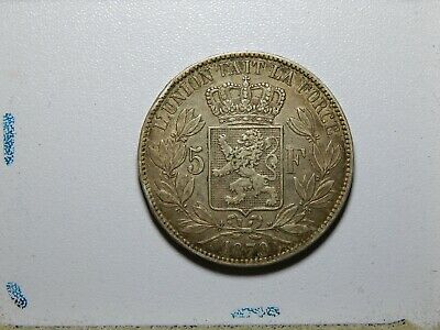 1870 Belgium 5 Francs King Leopold II Silver Coin
