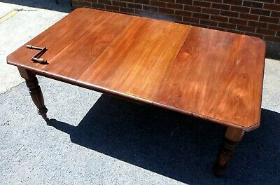 Victorian antique Arts Crafts solid Cuban mahogany extending dining table for 8