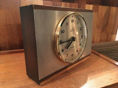 Vintage Junghans Electronic ATO MAT Wood Metal Cased Mantel Clock Mid Century