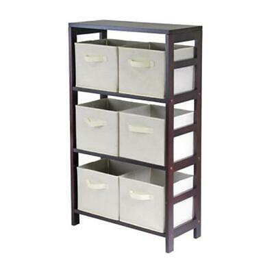 Capri 3 Section M Storage Shelf with 6 Foldable Fabric Baskets - Walnut and