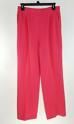 St John Collection Santana Knit Pants 8 Coral Pink Pleated High Rise Straight