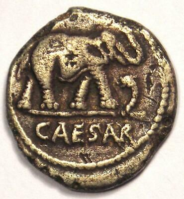Roman Julius Caesar AR Denarius Coin 48 BC Elephant Snake - VF Condition!
